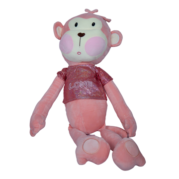 Imagen de Peluche de mono con remera metalizada 90 cm