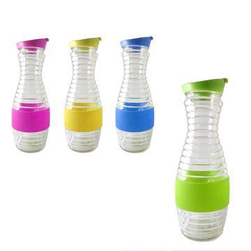 Imagen de Botella de vidrio con goma antideslizante 1000ml 26x7,5cm