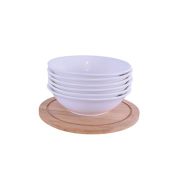 Imagen de Combo Bowl de Porcelana/ Plato de Madera