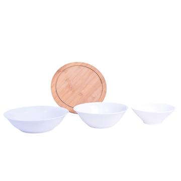 Imagen de Combo Compotera/ Bowl/ Ensaladera de Porcelana/ Plato de Madera